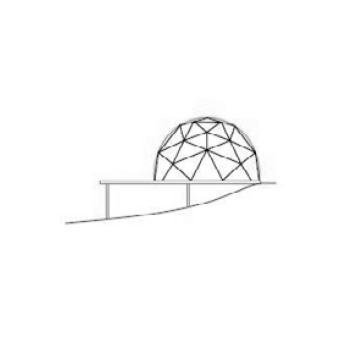 section through geodesic tent