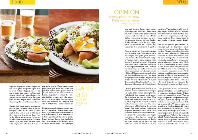 mock layout from the magazine